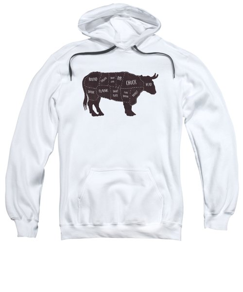 Primitive Butcher Shop Beef Cuts Chart T-shirt Sweatshirt by Edward Fielding