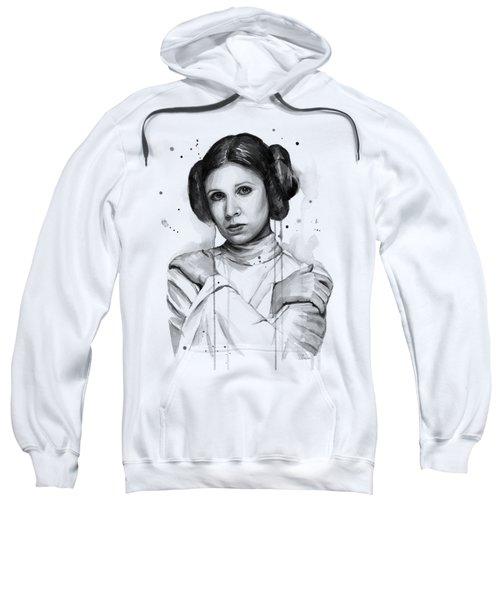 Princess Leia Portrait Carrie Fisher Art Sweatshirt by Olga Shvartsur