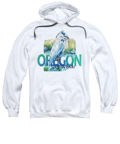 Puddletown Great Blue Heron Sweatshirt by Kara Skye