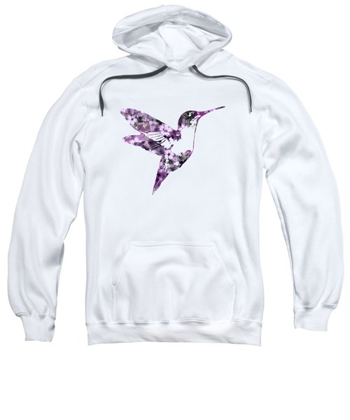 Sweatshirt featuring the mixed media Purple Floral Hummingbird Art by Christina Rollo
