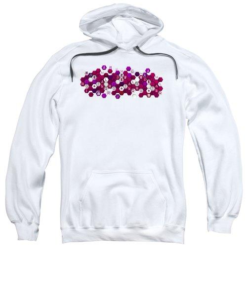 Purple Hexagons With Letters. Sweatshirt