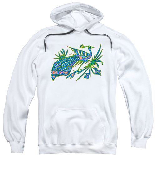 Rainbow Multicolored Peacock On A Branch Sweatshirt
