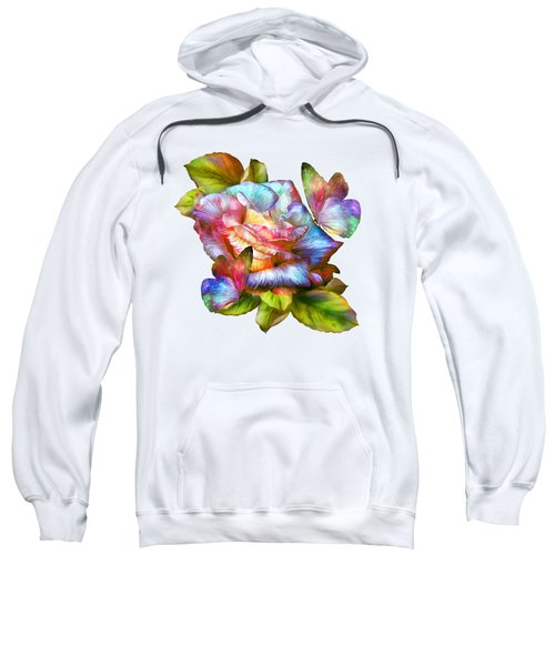 Rainbow Rose And Butterflies Sweatshirt by Carol Cavalaris