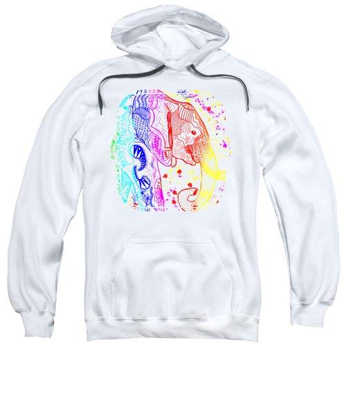 Rainbow Zentangle Elephant Sweatshirt by Becky Herrera