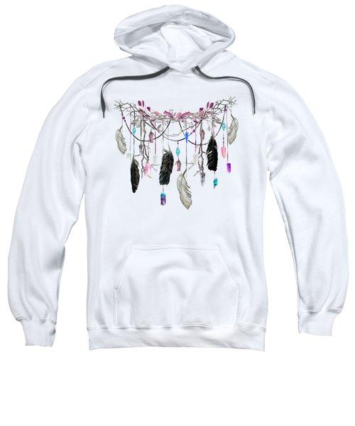 Raven Feathers And Roses Crystal Spirit Gazer Sweatshirt