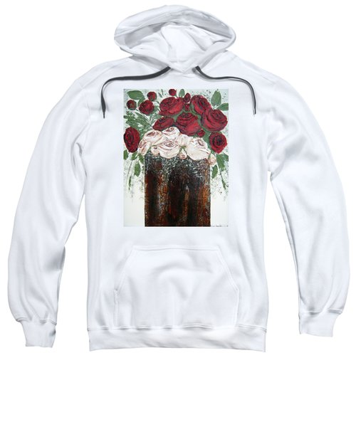 Red And Antique White Roses - Original Artwork Sweatshirt