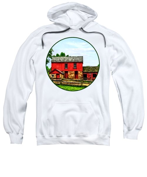 Red Barn With Fence Sweatshirt