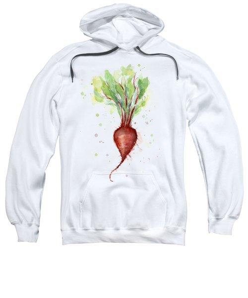 Red Beet Watercolor Sweatshirt by Olga Shvartsur