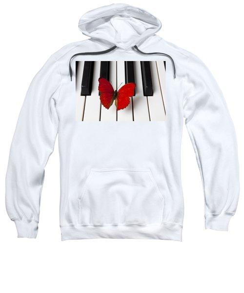 Red Butterfly On Piano Keys Sweatshirt