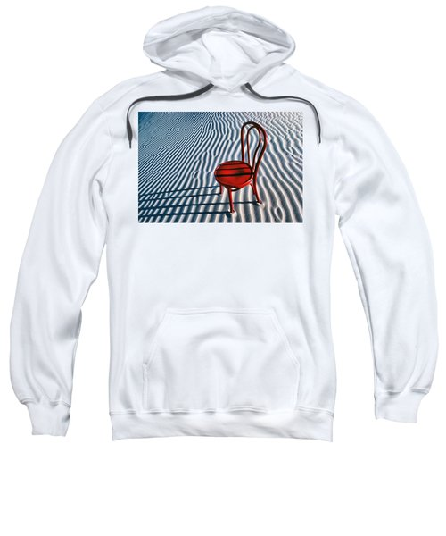 Red Chair In Sand Sweatshirt by Garry Gay