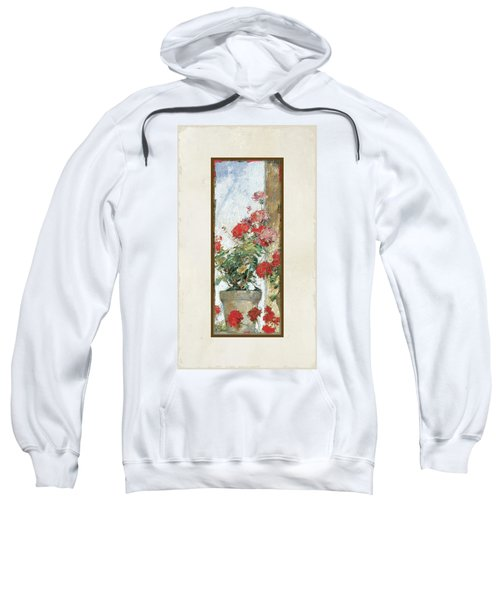 Red Geraniums Against A Sunny Wall Sweatshirt
