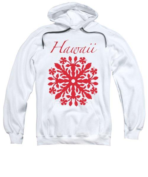 Hawaii Red Hibiscus Quilt Sweatshirt by James Temple