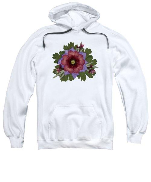 Red Open Faced Potentilla Pressed Flower Arrangement Sweatshirt