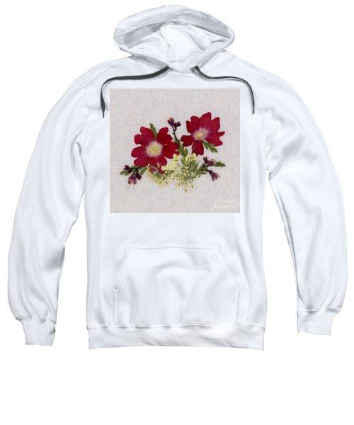 Red Verbena Pressed Flower Arrangement Sweatshirt