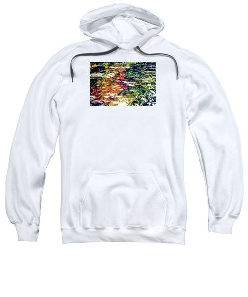 Reflection On Oscar - Claude Monet's  Garden Pond  Sweatshirt