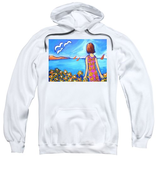 Sweatshirt featuring the painting Remembering Joy by Winsome Gunning