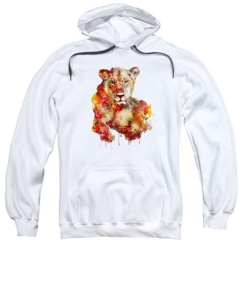 Resting Lioness In Watercolor Sweatshirt