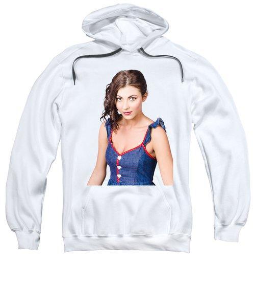 Retro Pin-up Girl In Blue Denim Dress Sweatshirt