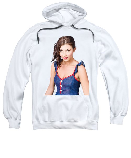 Retro Pin-up Girl In Blue Denim Dress Sweatshirt