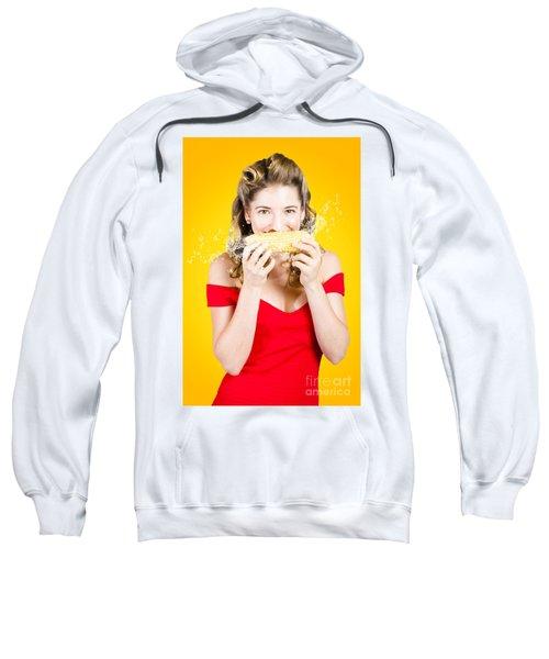 Retro Pinup Girl Eating Gmo Free Corn Cob Sweatshirt