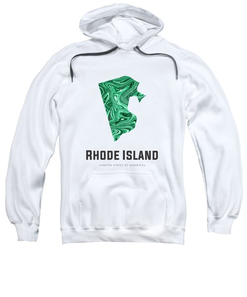 Rhode Island Map Art Abstract In Emerald Green Sweatshirt