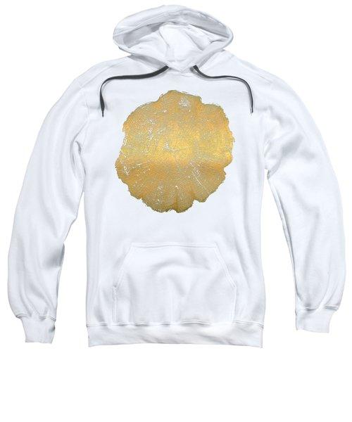 Rings Of A Tree Trunk Cross-section In Gold On Linen Beige Sweatshirt