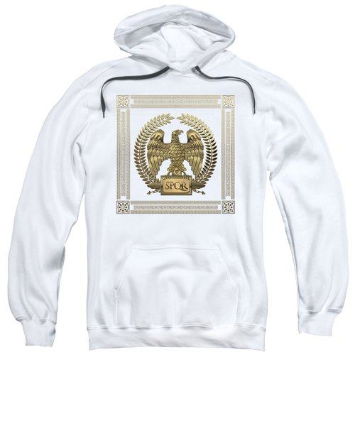 Roman Empire - Gold Imperial Eagle Over White Leather Sweatshirt