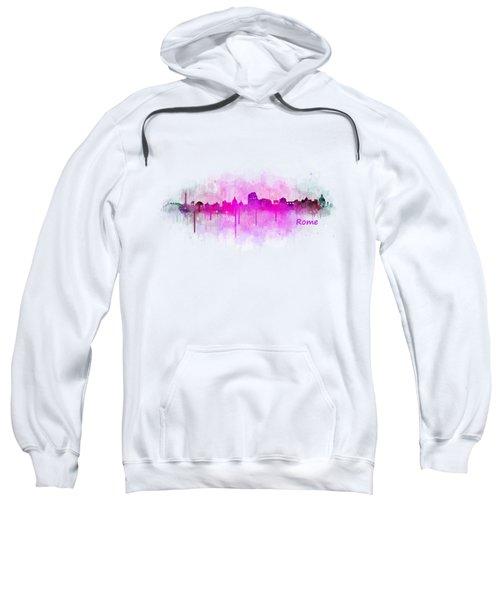 Rome City Skyline Hq V05 Pink Sweatshirt by HQ Photo