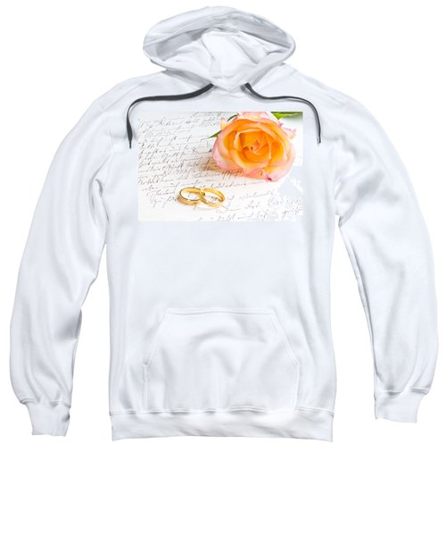 Rose And Two Rings Over Handwritten Letter Sweatshirt