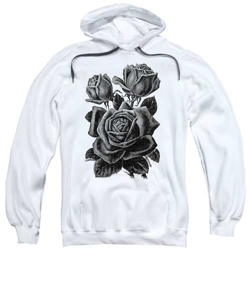 Sweatshirt featuring the digital art Rose Black by ReInVintaged