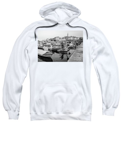 Rovinj Fisherman Working In Old Town Harbor - Rovinj, Istria, Croatia Sweatshirt