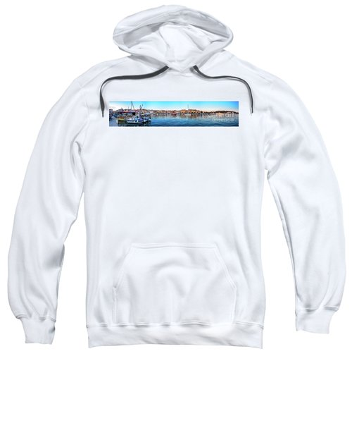 Rovinj Harbor And Boats Panorama Sweatshirt