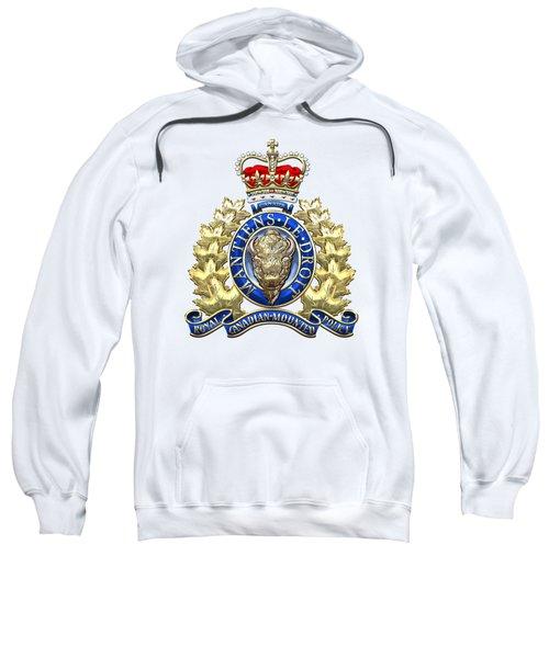 Royal Canadian Mounted Police - Rcmp Badge On White Leather Sweatshirt by Serge Averbukh