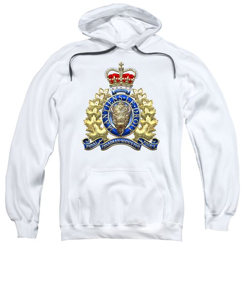 Royal Canadian Mounted Police - Rcmp Badge On White Leather Sweatshirt