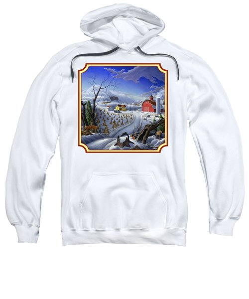 Rural Winter Country Farm Life Landscape - Square Format Sweatshirt
