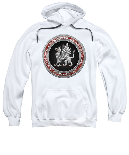 Sacred Silver Griffin On White Leather Sweatshirt