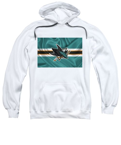 San Jose Sharks - 3 D Badge Over Silk Flagsan Jose Sharks - 3 D Badge Over Silk Flag Sweatshirt