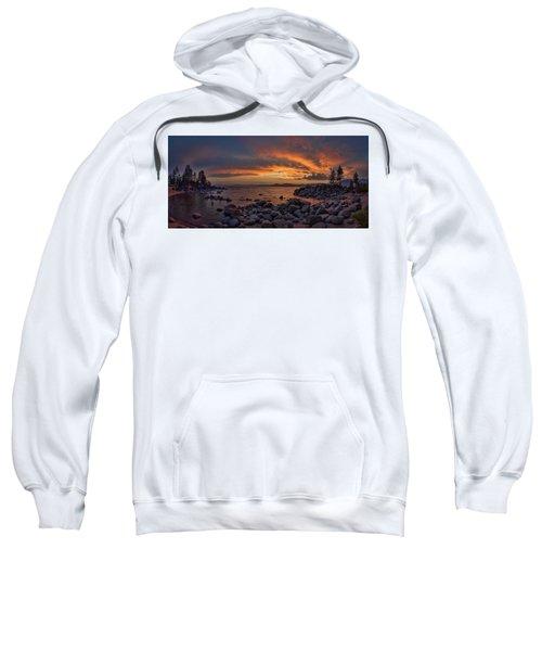 Sand Harbor Sunset Panorama Sweatshirt