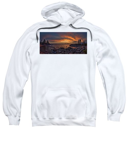 Sand Harbor Sunset Panorama Sweatshirt
