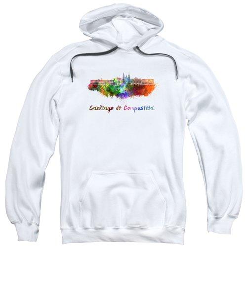 Santiago De Compostela Skyline In Watercolor Sweatshirt