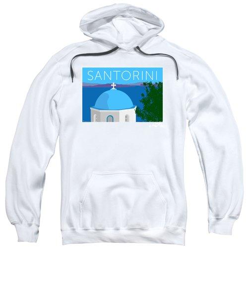 Sweatshirt featuring the digital art Santorini Dome - Blue by Sam Brennan