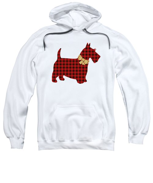 Sweatshirt featuring the mixed media Scottie Dog Plaid by Christina Rollo