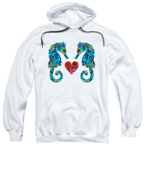 Sea Lovers - Seahorse Beach Art By Sharon Cummings Sweatshirt by Sharon Cummings