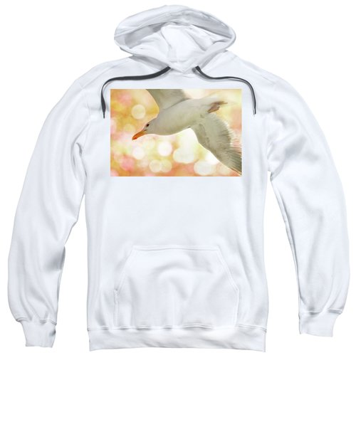 Seagull On Pink And Yellow Sky Sweatshirt