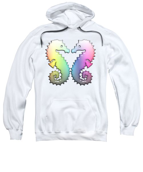 Seahorse Tango Soft Rainbow Drops Sweatshirt by Di Designs