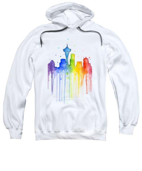 Seattle Rainbow Watercolor Sweatshirt by Olga Shvartsur