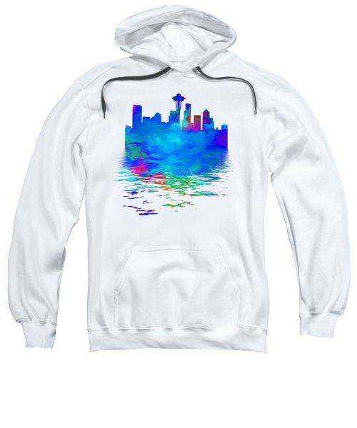 Seattle Skyline, Blue Tones On White Sweatshirt by Pamela Saville