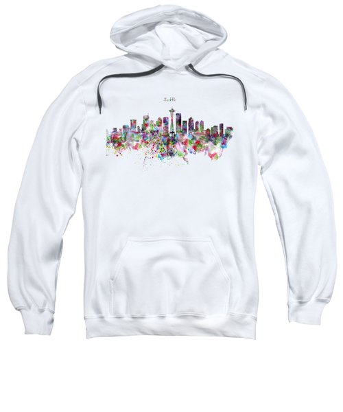 Seattle Skyline Silhouette Sweatshirt by Marian Voicu