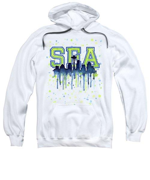 Seattle Watercolor 12th Man Art Painting Space Needle Go Seahawks Sweatshirt