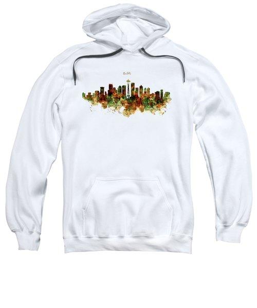 Seattle Watercolor Skyline Poster Sweatshirt by Marian Voicu